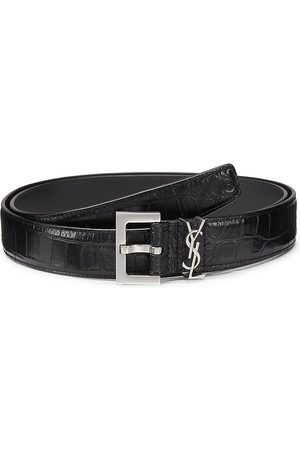 Saint Laurent Men's Insignia Crocodile-Embossed Leather Belt - - Size 105 (42)