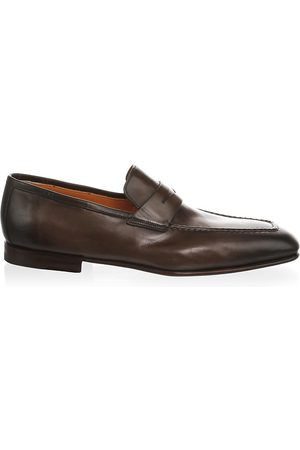 santoni Men's Leather Penny Loafers - - Size 45 (12)