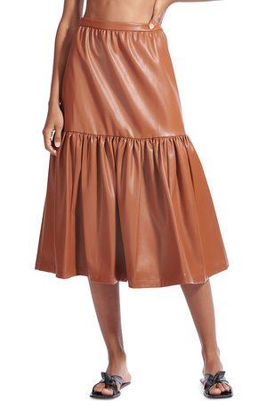 Staud Women's Orchid Vegan Leather Tiered Midi Skirt - - Size 12
