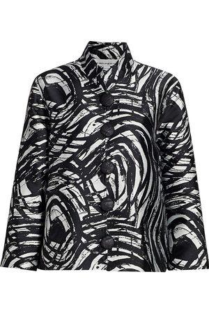 Caroline Rose Women's Swirl Jacquard Button-Up Jacket - - Size Medium