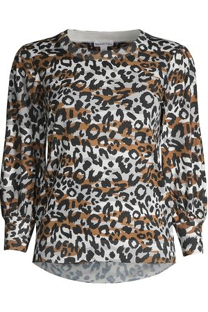 MINNIE ROSE Women's Leopard-Print Puff-Sleeve Top - - Size XL