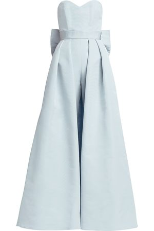 Alexia Maria Women's Silk Faille Bow-Back Jumpsuit with Convertible Skirt - - Size 4