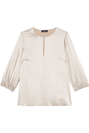 THEORY Women's Volume Sleeve Keyhole Top - - Size XL