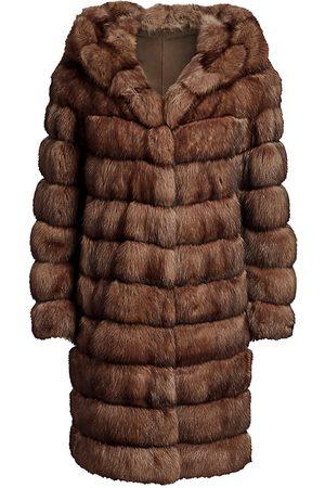 The Fur Salon Women's Hooded Sable Fur Long Coat - - Size Large