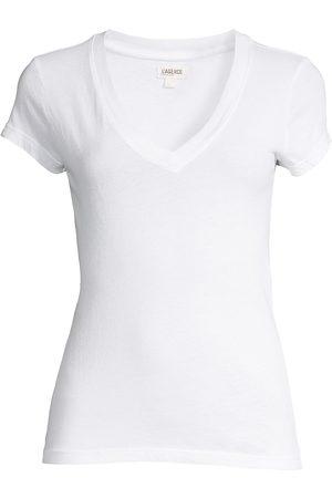 L'Agence Women's Becca V-Neck Cotton Tee - - Size Large