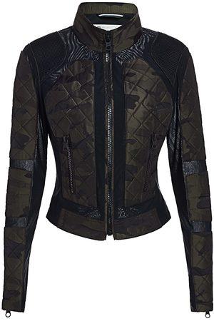 Blanc Noir Women's Camo Mesh Moto Jacket - - Size Large