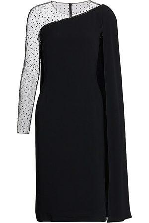 Jenny Packham Women's Embellished Illusion Cape Sleeve Dress - - Size 16 UK (12 US)