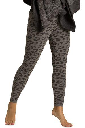 Barefoot Dreams Women's Cozychic Leopard-Print Leggings - Graphite Carbon - Size Medium