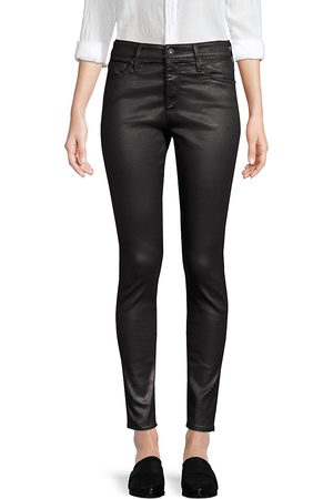 AG Jeans Women's Farrah High-Rise Ankle Faux Leather Skinny Pants - - Size 32 (10-12)
