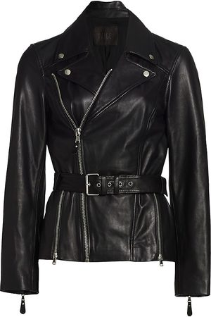Paige Women's Dita Belted Leather Jacket - - Size XS