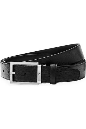 Mont Blanc Men's Westside Rectangular Shiny Stainless Steel Pin Buckle Leather Belt