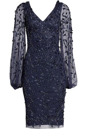 THEIA Women's Embellished Sheer-Sleeve Cocktail Dress - - Size 4