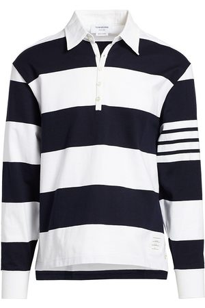 Thom Browne Men's Striped Long-Sleeve Polo Shirt - - Size 5 (XXL)