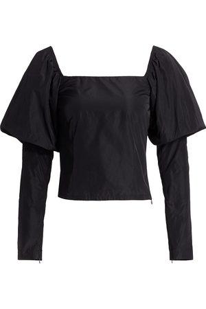 Andamane Women's Elsa Puff-Sleeve Taffeta Top - - Size Small