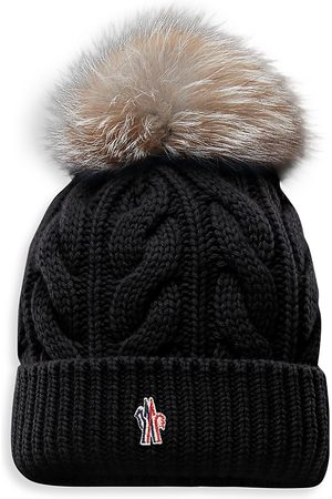 Moncler Women's Cashmere & Wool Cable Knit Fox Fur Pom-Pom Beanie