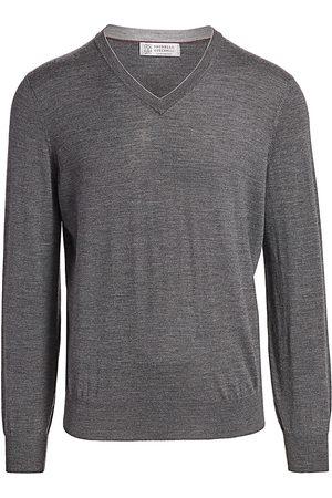 Brunello Cucinelli Men's V-Neck Wool & Cashmere Sweater - - Size 58 (48)