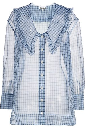Ganni Women's Plaid Organza Shirt - - Size 42 (10)