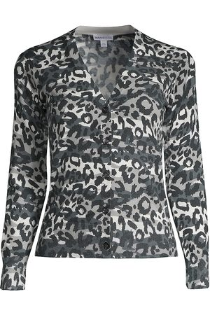 MINNIE ROSE Women's Leopard-Print V-Neck Cardigan - - Size Medium
