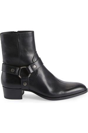 Saint Laurent Men's Wyatt Harness Leather Ankle Boots - Nero - Size 12