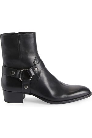 Saint Laurent Men's Wyatt Harness Leather Ankle Boots - - Size 44 (11)