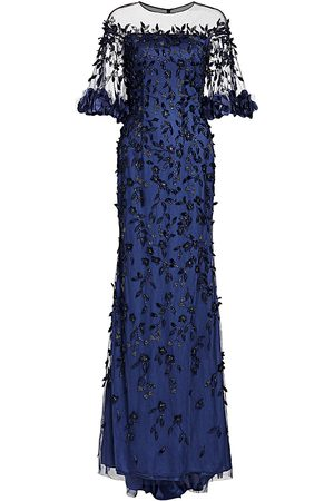 THEIA Women's Off-The-Shouler Embroidered Crystal 3D Leaves Gown - - Size 12