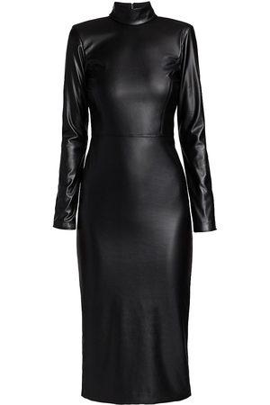 ALICE+OLIVIA Women's Delora Vegan Leather Bodycon Midi Dress - - Size 8