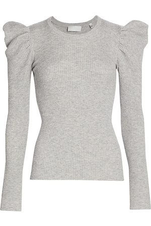 7 for all Mankind Women's Puff-Shoulder Crewneck Sweater - - Size Small
