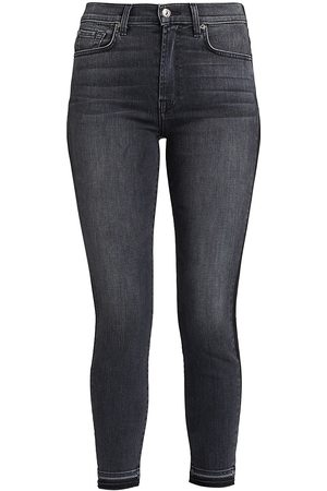 7 for all Mankind Women's Coated High-Waisted Ankle Skinny Jeans - - Size 34 (16)