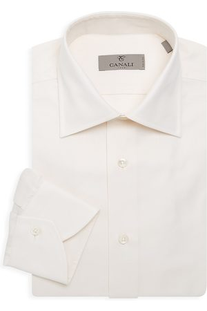 CANALI Men's Basic Solid Dress Shirt - - Size 17.5