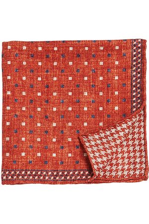 Brunello Cucinelli Men's Square Graphic Silk Pocket Square