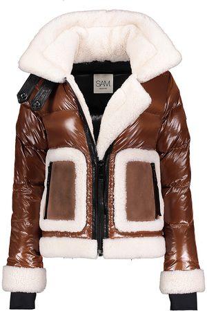 SAM. Women Jackets - Women's Veronica Shearling-Trimmed Down Biker Jacket - Cognac - Size XS