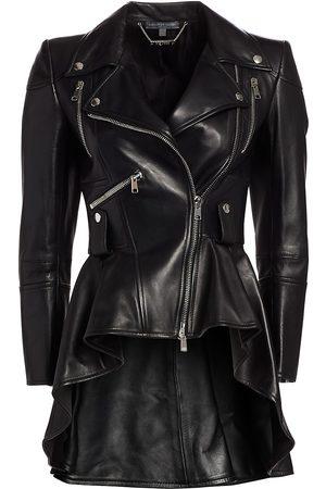 Alexander McQueen Women's Leather Peplum Moto Jacket - - Size 46 (10)