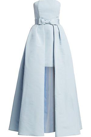 Alexia Maria Women Party Dresses - Women's Silk Faille Strapless Mini Dress with Convertible Bow Skirt - Light - Size 12