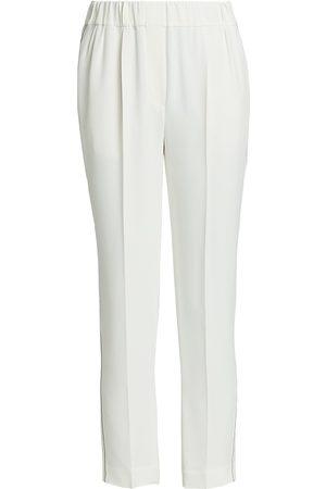 Brunello Cucinelli Women's Stretch-Silk Monili-Trim Pull-On Pants - - Size 46 (10)