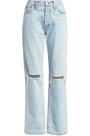 RE/DONE Women's High-Rise Ripped-Knee Loose Jeans - - Size 31 (10)