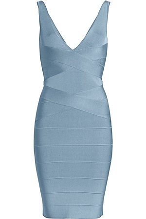 Hervé Léger Women's Icon Deep V-Neck Bodycon Dress - - Size Small