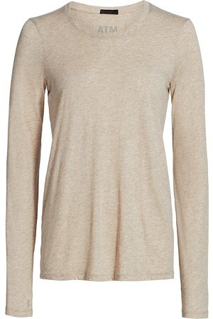 ATM Anthony Thomas Melillo Women's Heather Jersey Long-Sleeve Top - Heather Oatmeal - Size XS