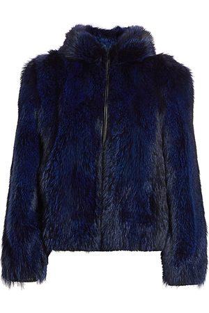 The Fur Salon Women's Fox Fur Hooded Jacket - - Size Small