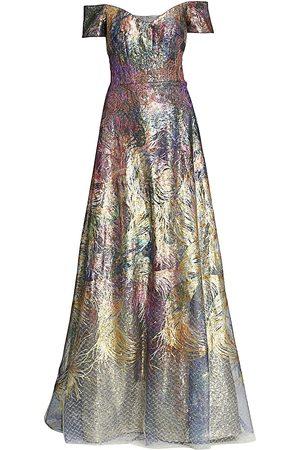 Rene Ruiz Collection Women's Sequin Off-The-Shoulder Gown