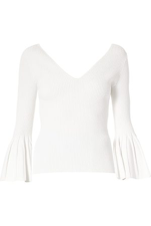 Carolina Herrera Women's Icon Flare-Cuff V-Neck Sweater - - Size Small
