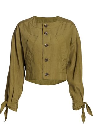 PROENZA SCHOULER WHITE LABEL Women's Textured Parachute Cropped Jacket - - Size XS