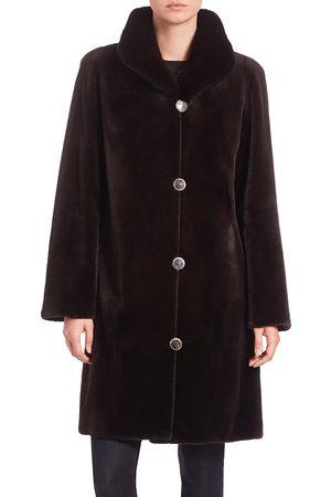 The Fur Salon Women's Reversible Mink Fur Velvet Coat - - Size Medium