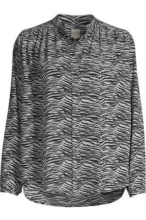 REBECCA TAYLOR Women's Mini Tiger-Print Blouse - - Size XL