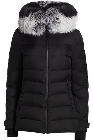 The Fur Salon Women's Removable Fox Fur-Trim Hooded Down Jacket - - Size Small