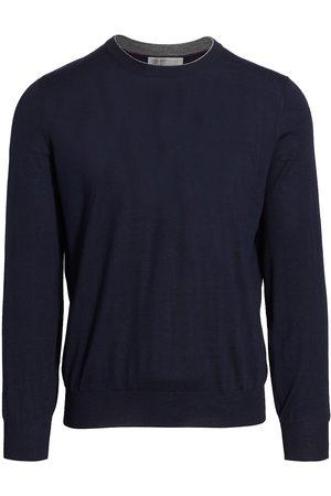 Brunello Cucinelli Men's Suede Elbow Patch Crew Sweater - - Size 54 (44)