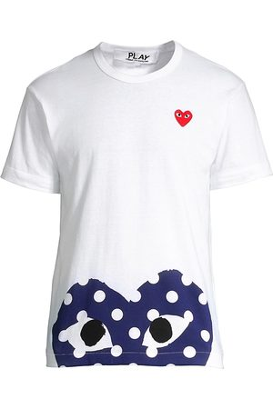 Comme des Garçons Men's Half Polka Dot Graphic Tee - - Size Medium