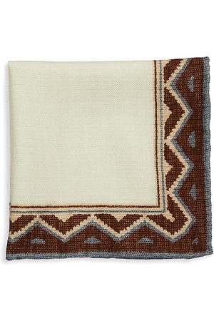 Brunello Cucinelli Men's Geo Border Pocket Square