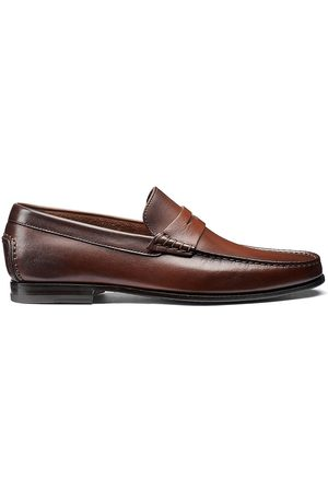 santoni Men's Leather Moccasin Penny Loafers - - Size 10.5 D