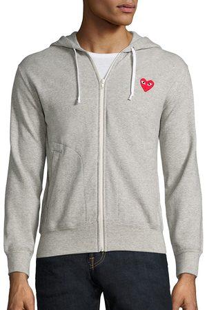 Comme des Garçons Men's Heathered Signature Logo Patch Jersey Hoodie - - Size Large