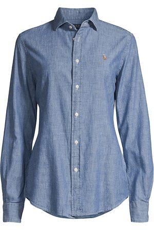 Ralph Lauren Women's Kendall Long-Sleeve Button-Front Shirt - - Size 6